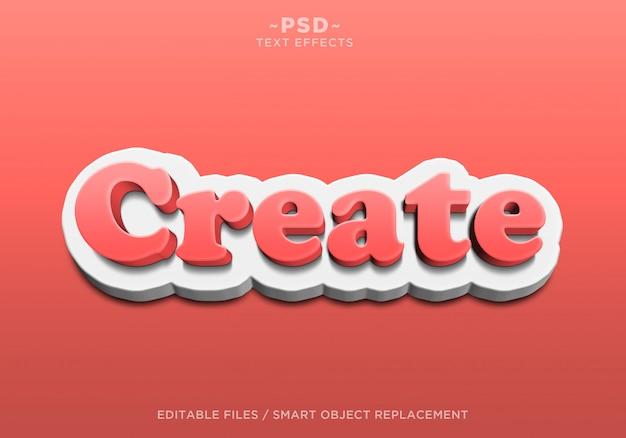 3d作成の赤白の編集可能なテキスト効果
