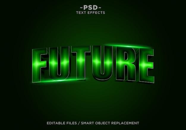 3d未来の映画のような効果の編集可能なテキスト