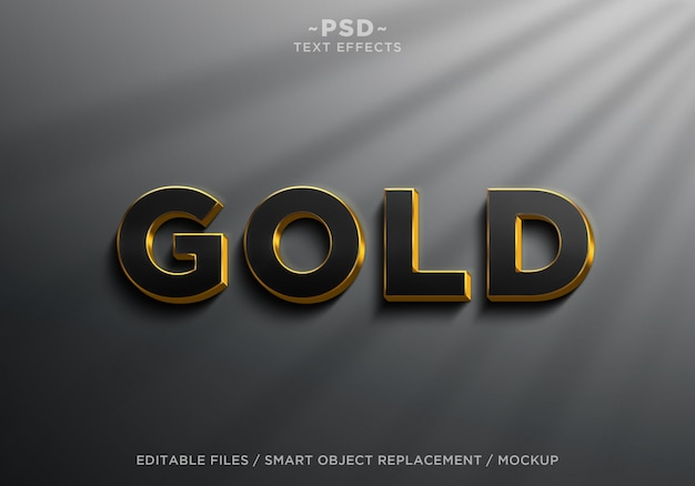 3dリアルなブラックゴールド効果の編集可能なテキスト