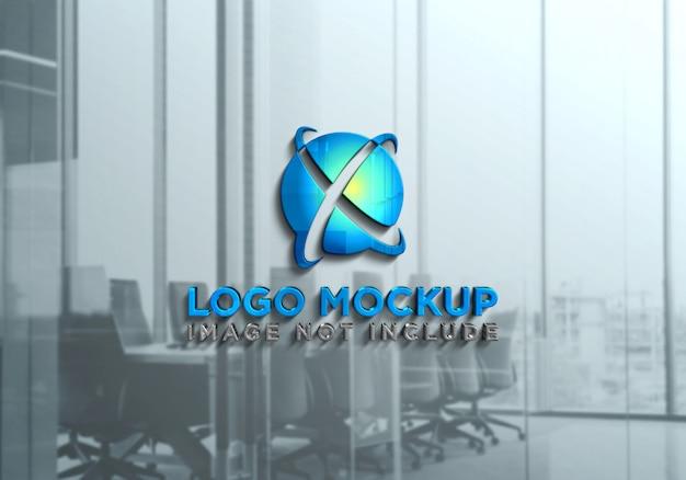 3dリアルなロゴのモックアップ