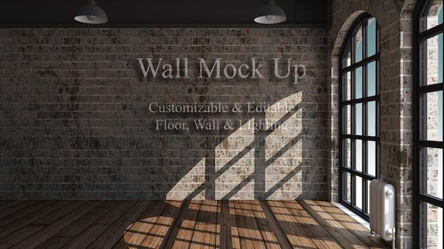 3d編集可能な部屋のインテリアのモックアップ