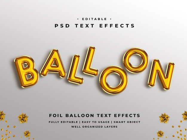 編集可能な3dバルーンスタイルのテキスト効果