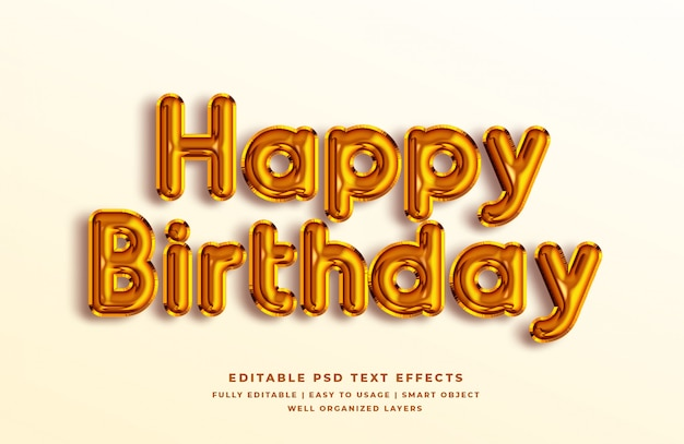 С днем рождения золотой 3d текстовый эффект