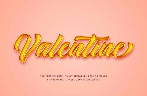 Валентина золотая фольга 3d текстовый стиль эффект макет