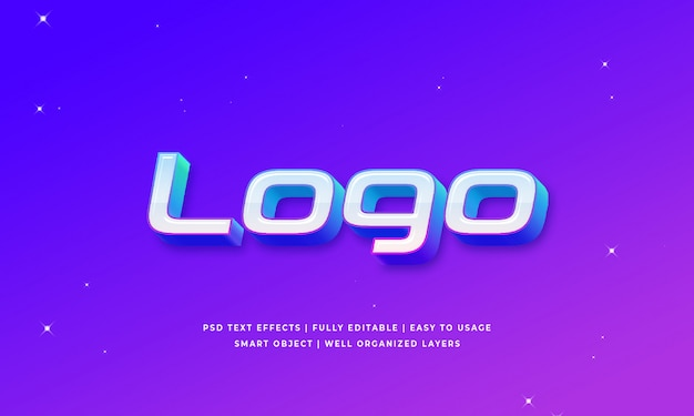 Логотип 3d эффект стиля текста
