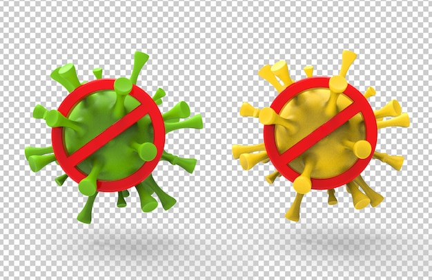 3d-рендеринг предупреждения о вирусе короны с красными знаками остановки
