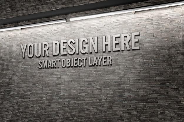 Вид 3d слова на стене макет