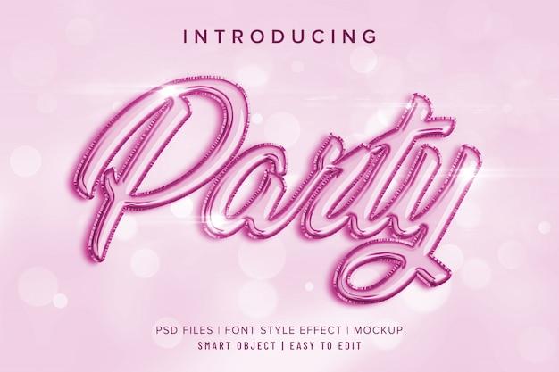 3d вечеринка макет эффекта стиля шрифта