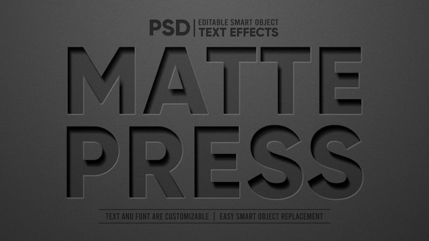 Черный матовый винил 3d редактируемый текстовый эффект