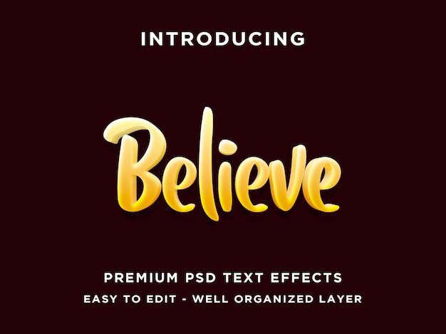 Поверь в стиле 3d редактируемый текстовый эффект