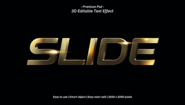 3dスライド編集可能なテキスト効果