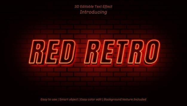 3d赤いレトロ編集可能なテキスト効果
