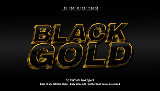 3dブラックゴールドの編集可能なテキスト効果