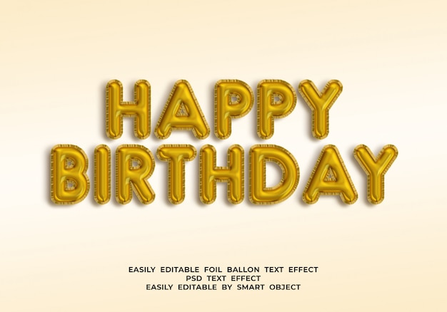 С днем рождения текст в стиле 3d шар