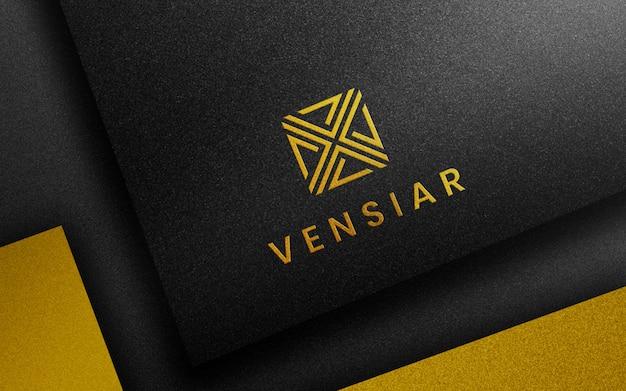 Логотип макет роскошной визитки 3d бумага