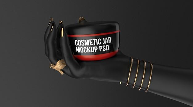 Макет косметической банки с кремом на черной руке 3d визуализации