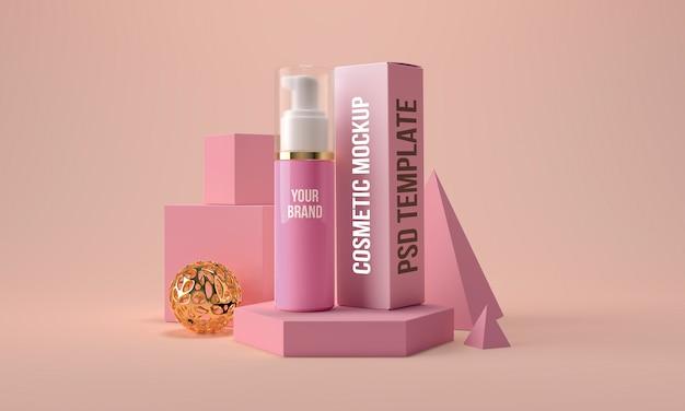 Косметическая бутылка с дозатором и коробкой макета. контейнер для продуктов по уходу за кожей красоты 3d визуализации