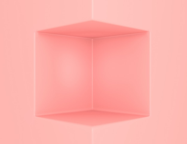 製品の配置と編集可能な色のための立方体のスペースを持つ3d幾何学的なピンクのシーン