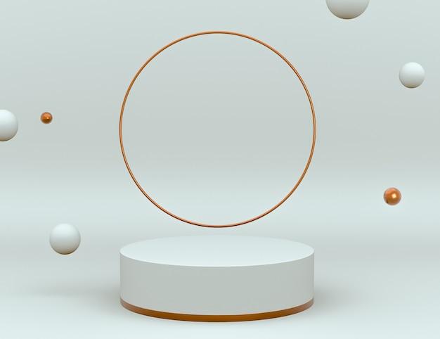 製品の配置と編集可能な色のための表彰台を備えたエレガントな白と真鍮の3dシーン