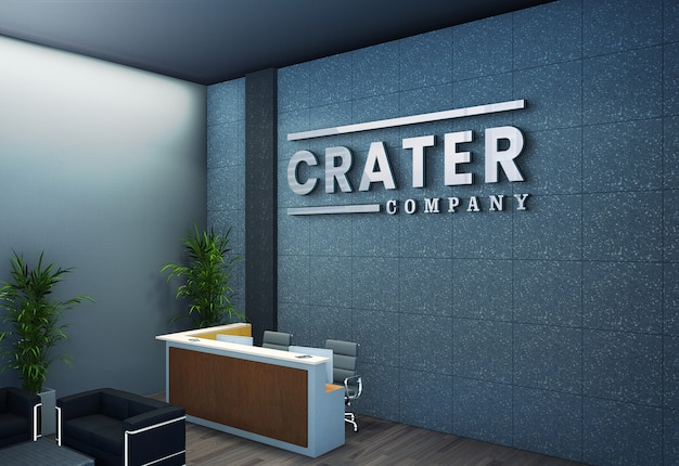 Макет логотипа на 3d стойке регистрации корпоративного офиса