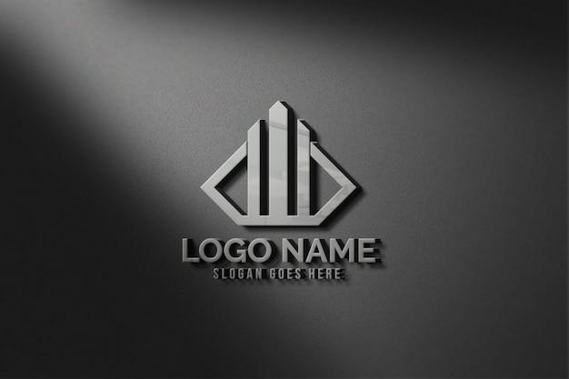 Современный 3d реалистичный настенный логотип макет
