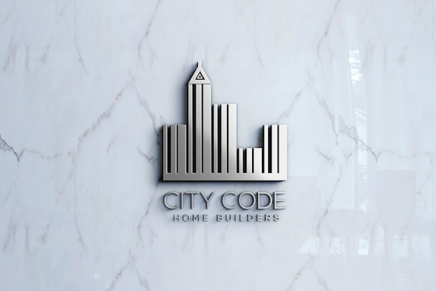 3d логотип макет на мраморной стене