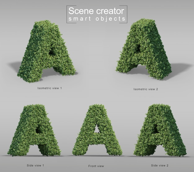 3d-рендеринг кустов в форме буквы а