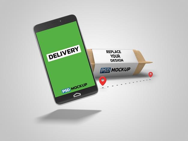 Онлайн-доставка коробка макет 3d-рендеринга дизайн