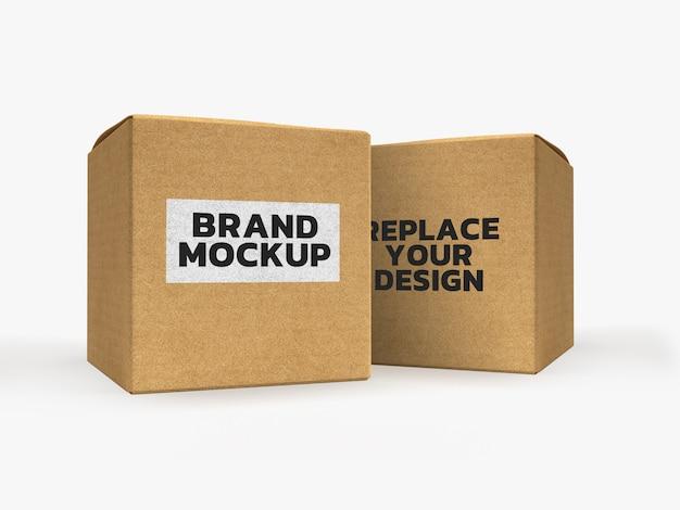 Бумажная коробка макет 3d рендеринг дизайн