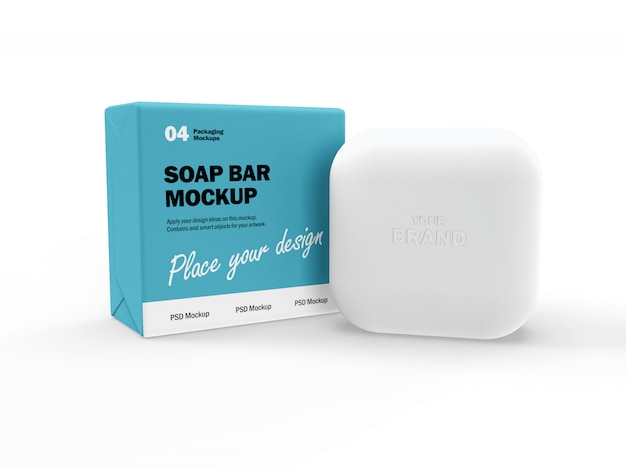 正方形の石鹸バーとボックスの3dパッケージデザインモックアップ