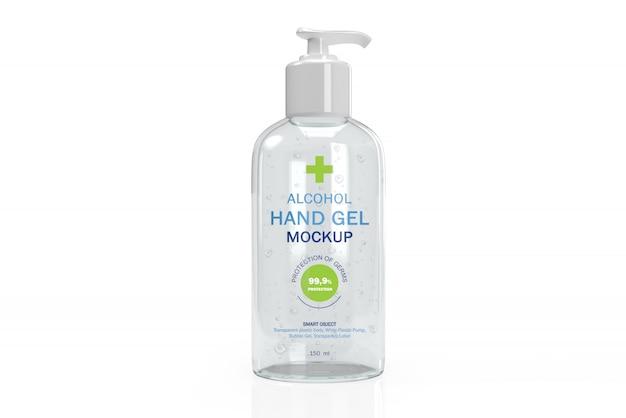 手の消毒剤用の透明なポンプフレコンの3dモックアップ