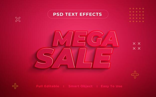 Мега распродажа 3d текстовый эффект макет