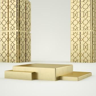 Исламский чистый белый золотой постамент продукта, золотая рамка, мемориальная доска, абстрактная минимальная концепция, пустое пространство, чистый дизайн, роскошь. 3d-рендеринг