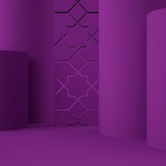 背景と編集可能な色で製品を配置するためのホログラフィック3d幾何学的ステージ