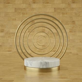 Голографическая 3d геометрическая сцена для размещения продукта с фоном колец и редактируемым цветом