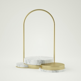Постамент из чистого белого золота, золотая рамка, мемориальная доска, абстрактная минимальная концепция, пустое пространство, чистый дизайн, роскошь. 3d-рендеринг