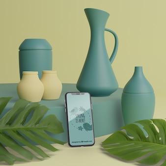電話で花用のモックアップ3d花瓶