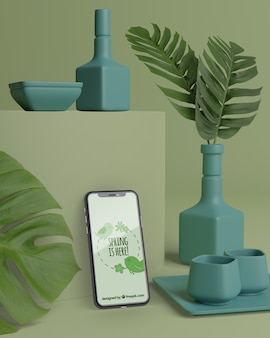 モバイル用の花のモックアップ3d花瓶