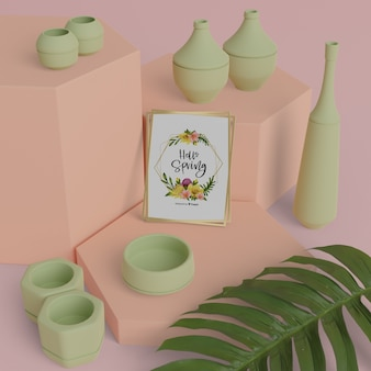 Привет весенняя открытка с 3d вазами на столе