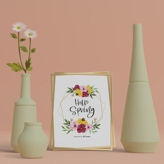 3d украшения и привет весенняя открытка на столе