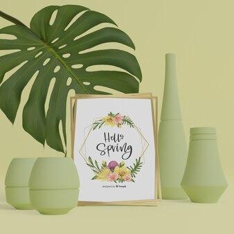 3d вазы и листва с привет весенней картой