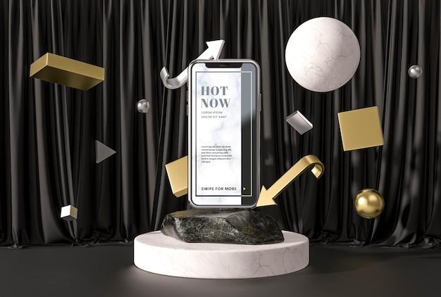 3d макет смартфона на мраморе и подставке
