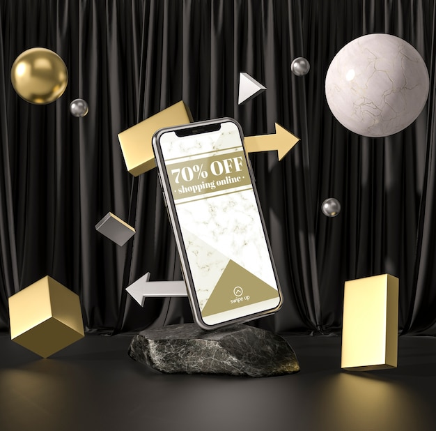 ボールとキューブを備えた3dモックアップスマートフォン