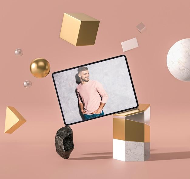 3d макет цифрового планшета абстрактной концепции