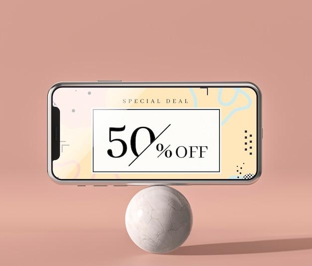 Мобильный телефон 3d макет стоя на белом шаре