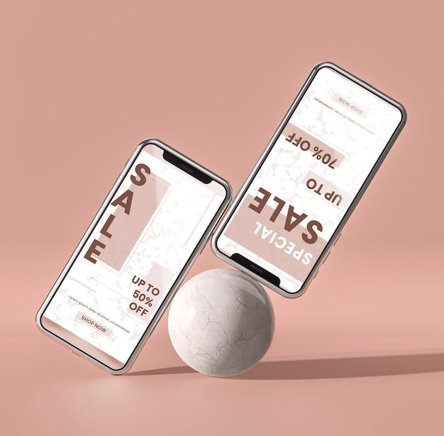 3d модель мобильного телефона и белый шар концепции