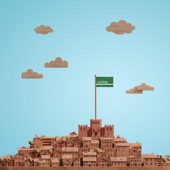 モックアップ都市世界の日3dモデル
