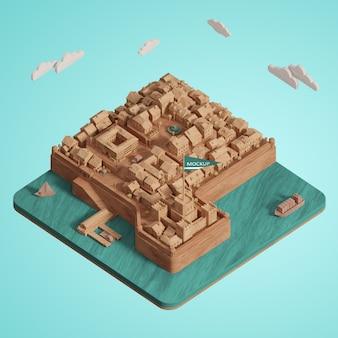 3d都市世界の日ミニチュアモデル