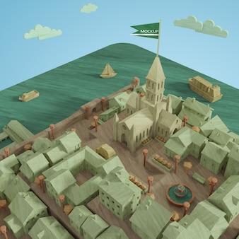 都市の3dモックアップミニチュアモデル
