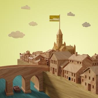 Макет 3d модели зданий города
